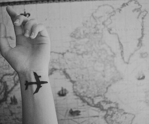 travel, tattoo, and map image