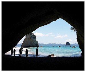beach, cave, and new zealand image