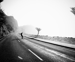 black and white, girl, and road image