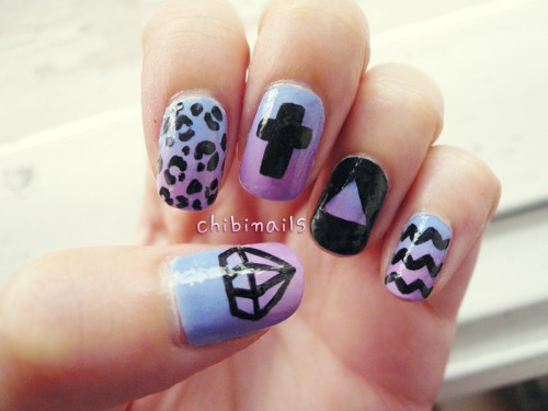 nails, diamond, and purple image