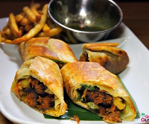 indian food, wrap, and mutton image