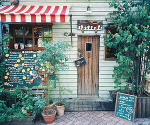 cafe, door, and flowers image