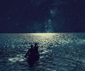 sea, stars, and night image
