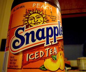 snapple, iced tea, and peach image