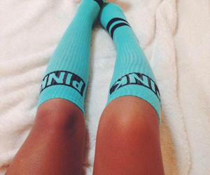 pink, socks, and legs image