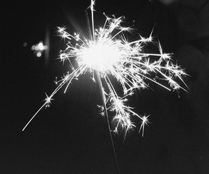 black and white, light, and fireworks image