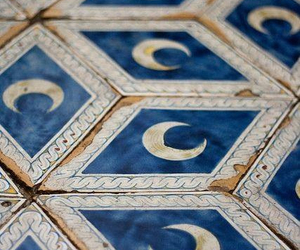 moon, blue, and tiles image