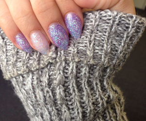 nails, purple nails, and sparkly nails image