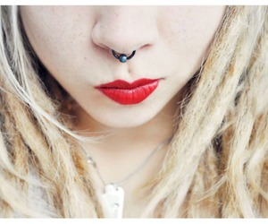 blonde, girl, and piercing image