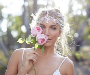 hair, jewels, and rose image