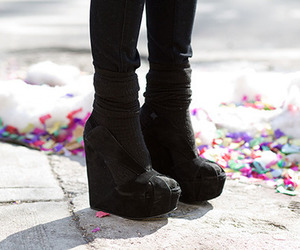 shoes, black, and wedges image