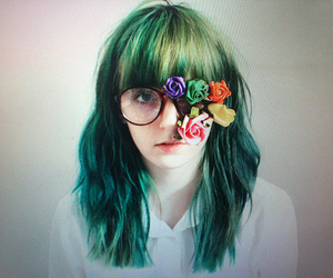 flowers, girl, and glasses image