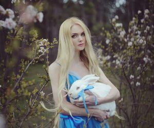 alice in wonderland, alice, and rabbit image