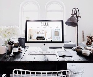 white, desk, and black image