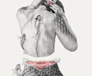 art, fish, and mermaid image