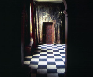 checkered, door, and check floor image