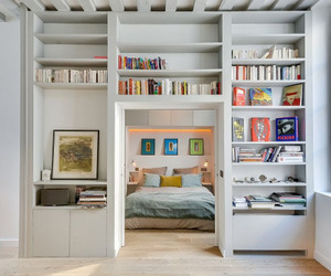 apartment, books, and comfy image