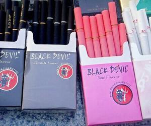 cigarette, pink, and black devil image