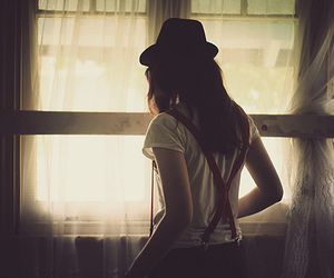 girl, hat, and window image