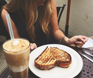 food, girl, and coffee image