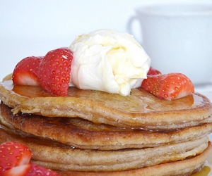 strawberry, ice cream, and pancakes image