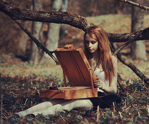 girl, fashion, and forest image