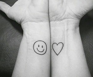 arms, black and white, and heart image