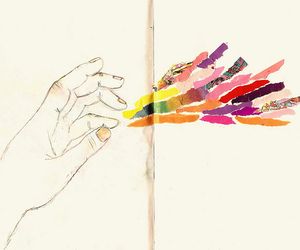 hand, colors, and drawing image