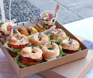 food, fruit, and bagel image