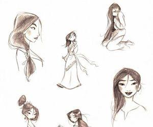 mulan, disney, and drawing image