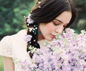 brunette, flowers, and girl image