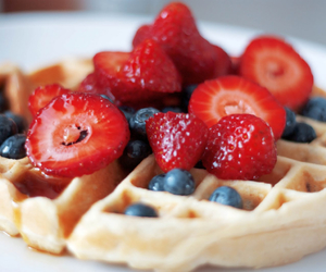 blueberry, strawberry, and waffles image