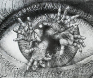 eye, art, and black and white image