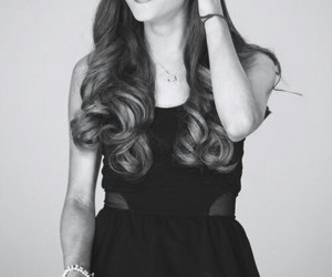 ariana grande, black and white, and smile image