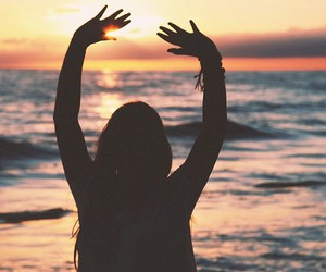 beach, sea, and love image