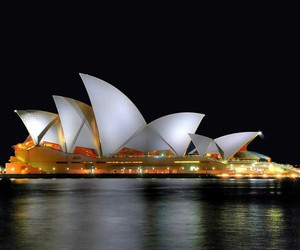 australia, night view, and opera house image