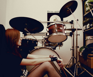 drums, girl, and music image