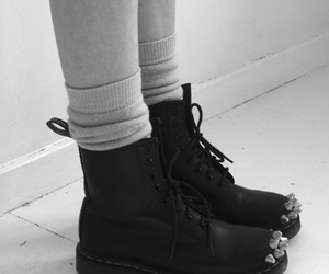 black and white, dr martens, and shoes image