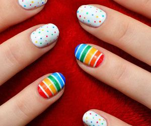 nails, nail art, and rainbow image
