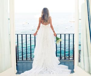 dress, wedding, and sea image