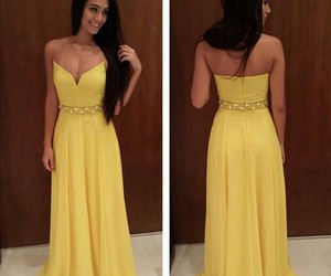 dress, party, and yellow image