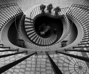 black and white, architecture, and stairs image
