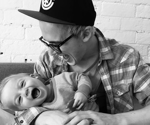 baby, black and white, and funny image