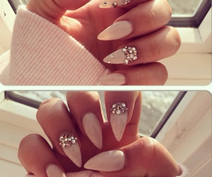 nails, diamond, and pink image