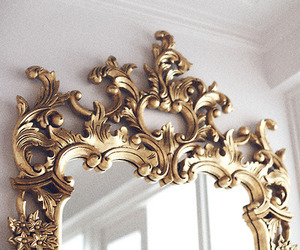 mirror, gold, and lilac image