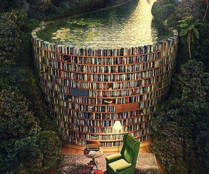 book, water, and library image