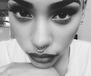piercing, eyebrows, and lips image