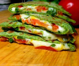spinach, quesadillas, and veggies image