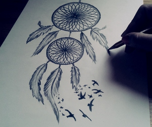 birds, drawing, and dream catcher image