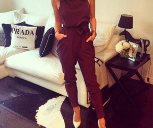 burgundy, girl, and jumpsuit image
